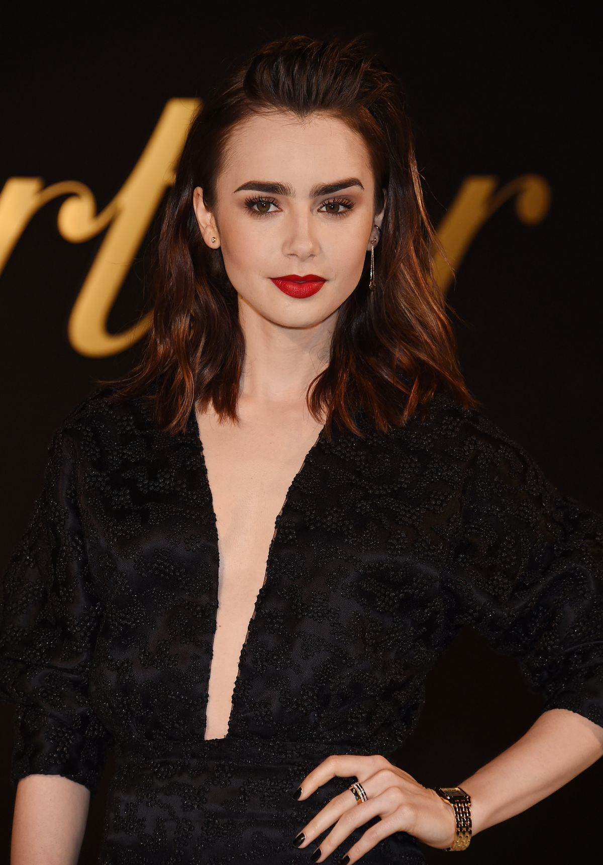 Lily collins panthere de cartier watch launch in la