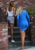 charlotte mcKinney chats with her friend outside of her home in west hollywood-260617