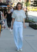 gigi hadid in a blue crop top with powder blue high waisted sweats out and about in new york-250617