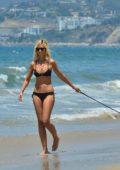 Lady Victoria Hervey in a Black Bikini spotted at the Beach in Santa Monica, CA