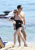Lindsay Lohan in a Swimsuit spotted on the Beach in Mykonos, Greece
