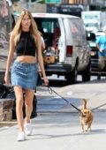 Martha Hunt walking her Dog in East Village, New York