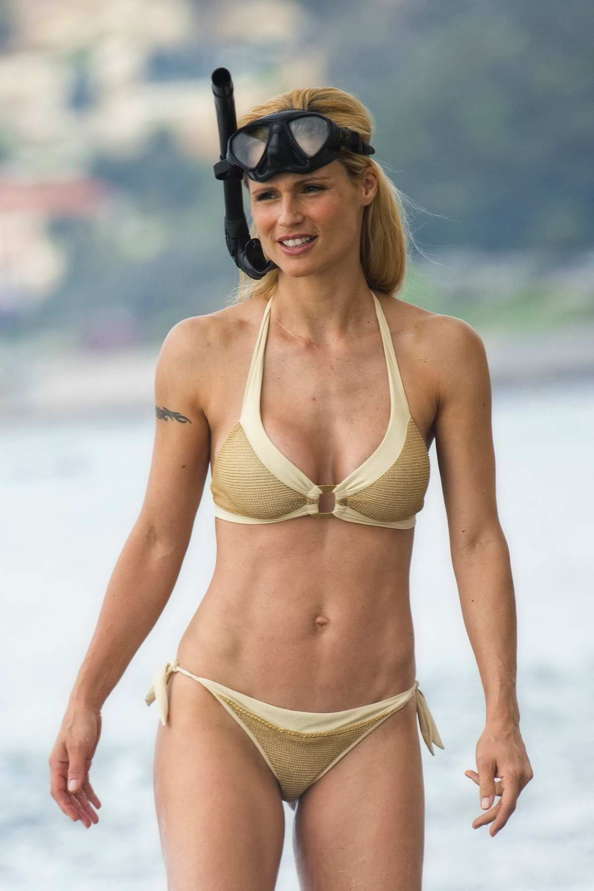 Angelica Celaya En Bikini michelle hunziker in a golden bikini on the beach in