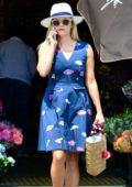 Reese Witherspoon in a Blue Dress out in Beverly Hills