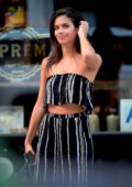 Sara Sampaio in a Striped Two Piece Outfit leaving a Photoshoot in New York