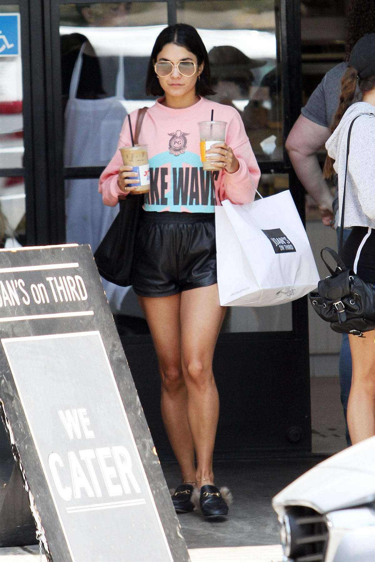 Vanessa Hudgens makes a stop for a couple of Iced Coffees at Alfred Coffee in Studio City