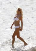 Victoria Silvstedt in White Bikini enjoying her Vacation on the beach in Ibiza, Spain