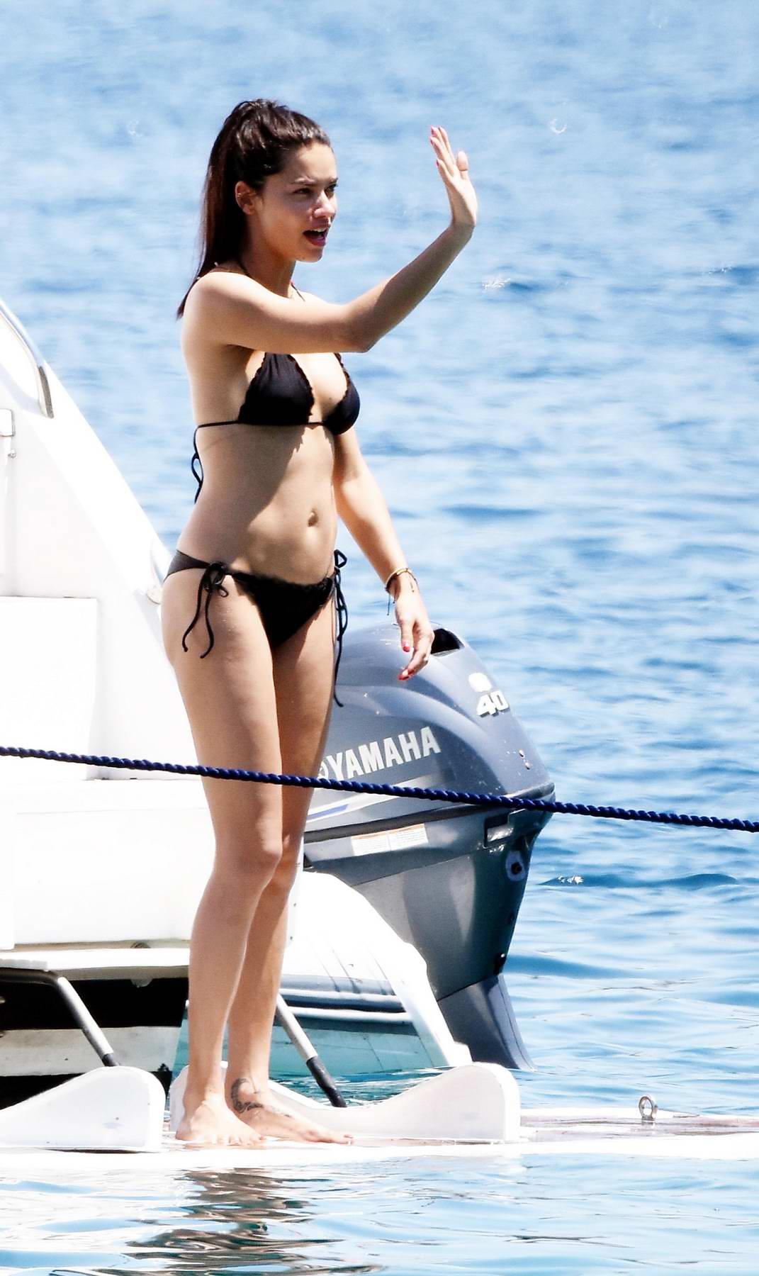 Adriana Lima in a Black Bikini on a Yacht in Bodrum, Turkey