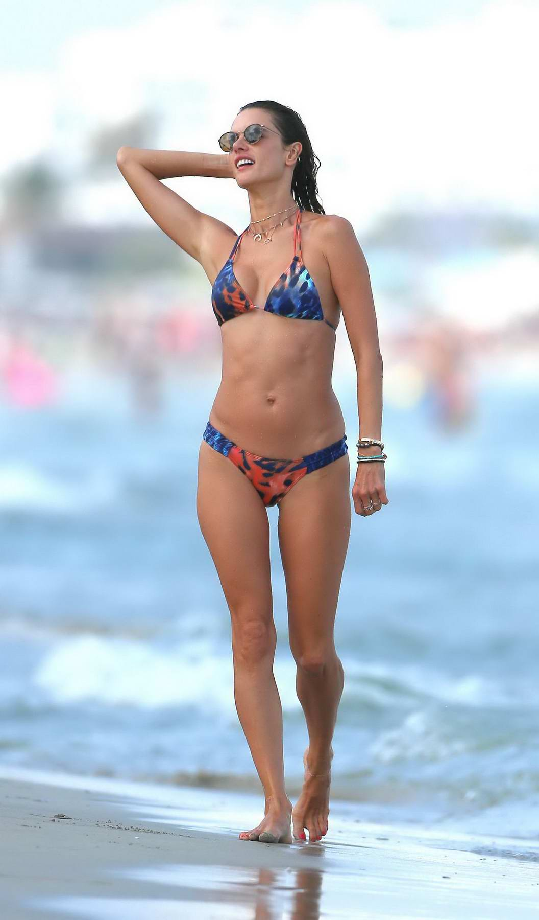 Alessandra Ambrosio in a Colourful Print Bikini on the Beach with her Husband in Ibiza, Spain