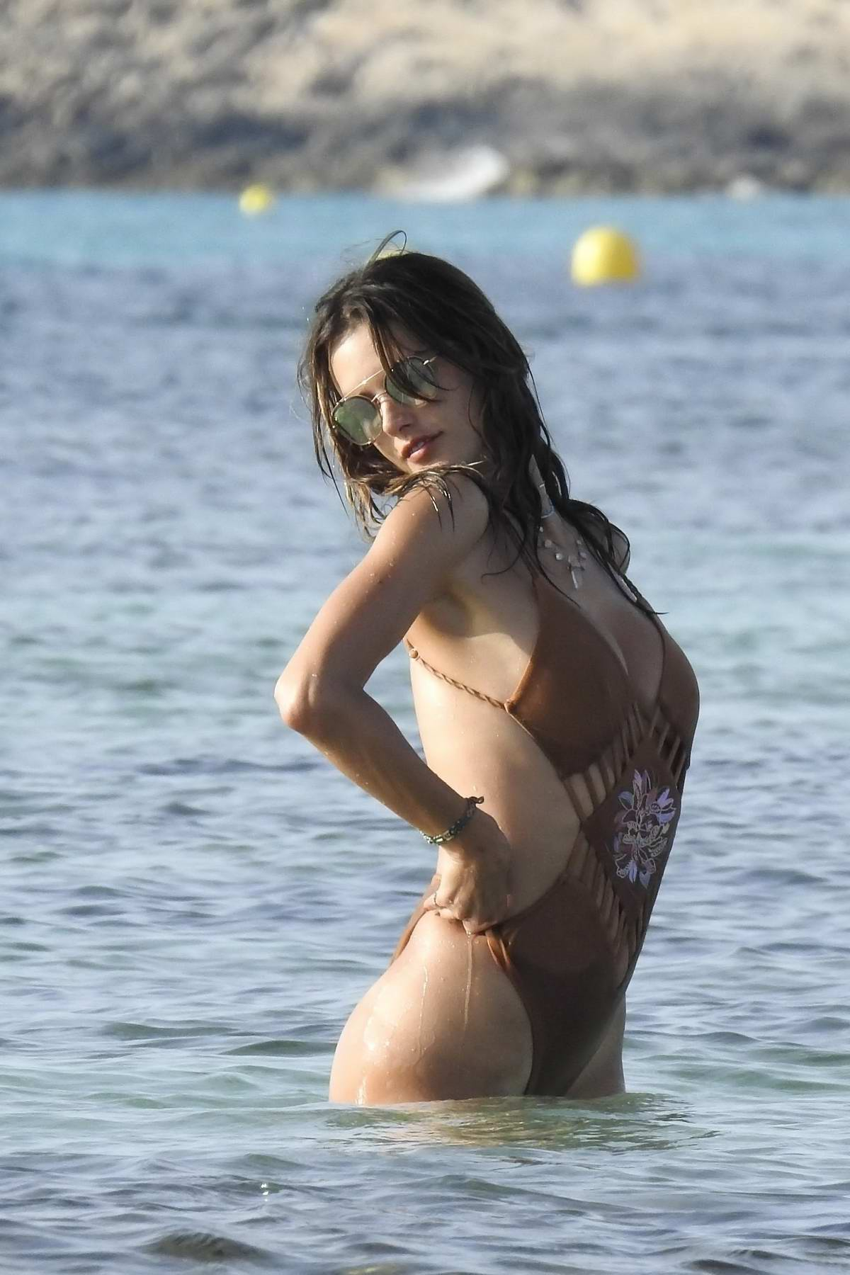 Alessandra Ambrosio in a Swimsuit enjoys the Ocean in Ibiza