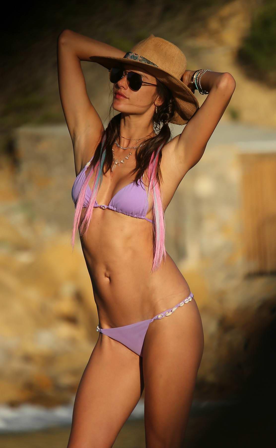 Alessandra Ambrosio in Purple Bikini on the Beach in Ibiza, Spain