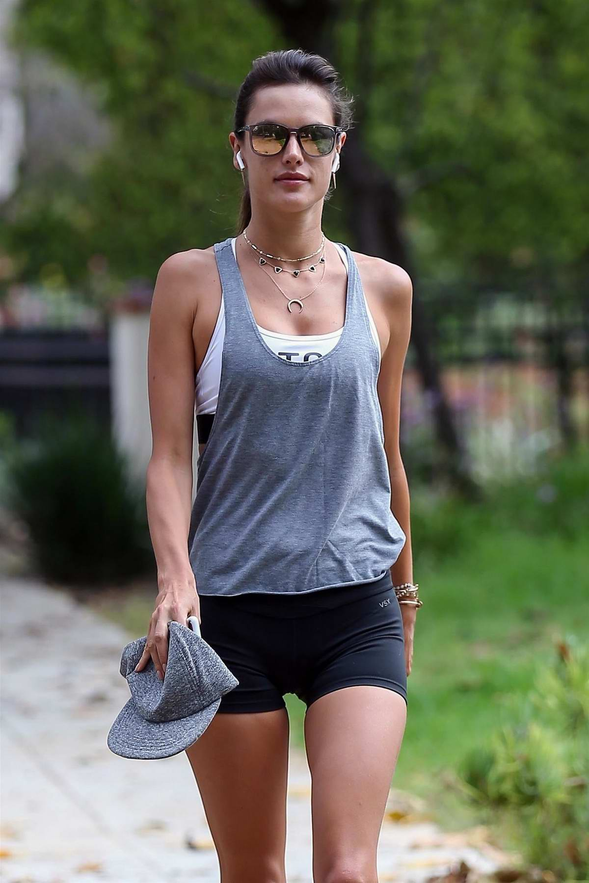 Alessandra Ambrosio out for an outdoor cardio in Brentwood, Los Angeles