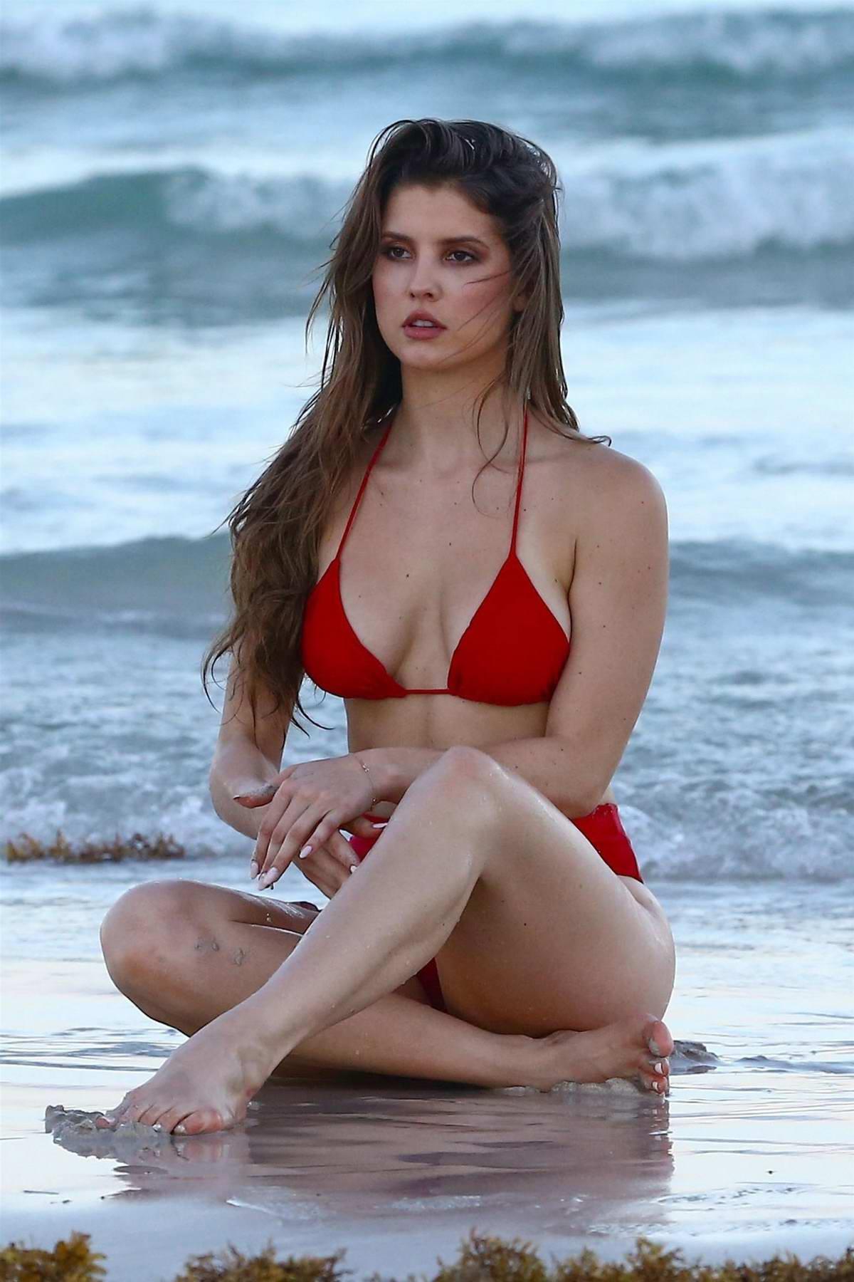 Amanda Cerny in a Red Bikini on a Photoshoot in Miami