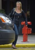Amy Smart with no make-up on her way to film American Brawler in New York