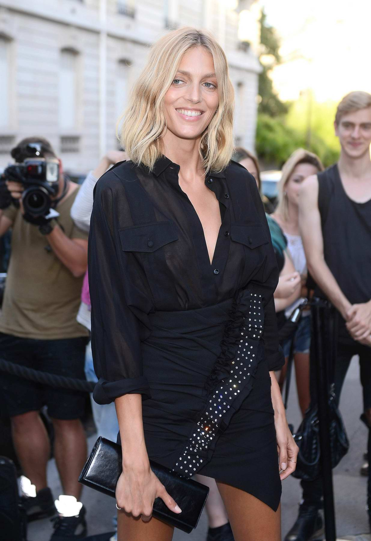 Anja Rubik at Vogue Party at Musee Galliera at Paris Fashion Week in Paris, France
