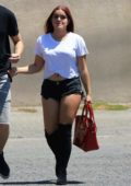 Ariel Winter in Denim Shorts and White Top out with her boyfriend in Studio City, Los Angeles