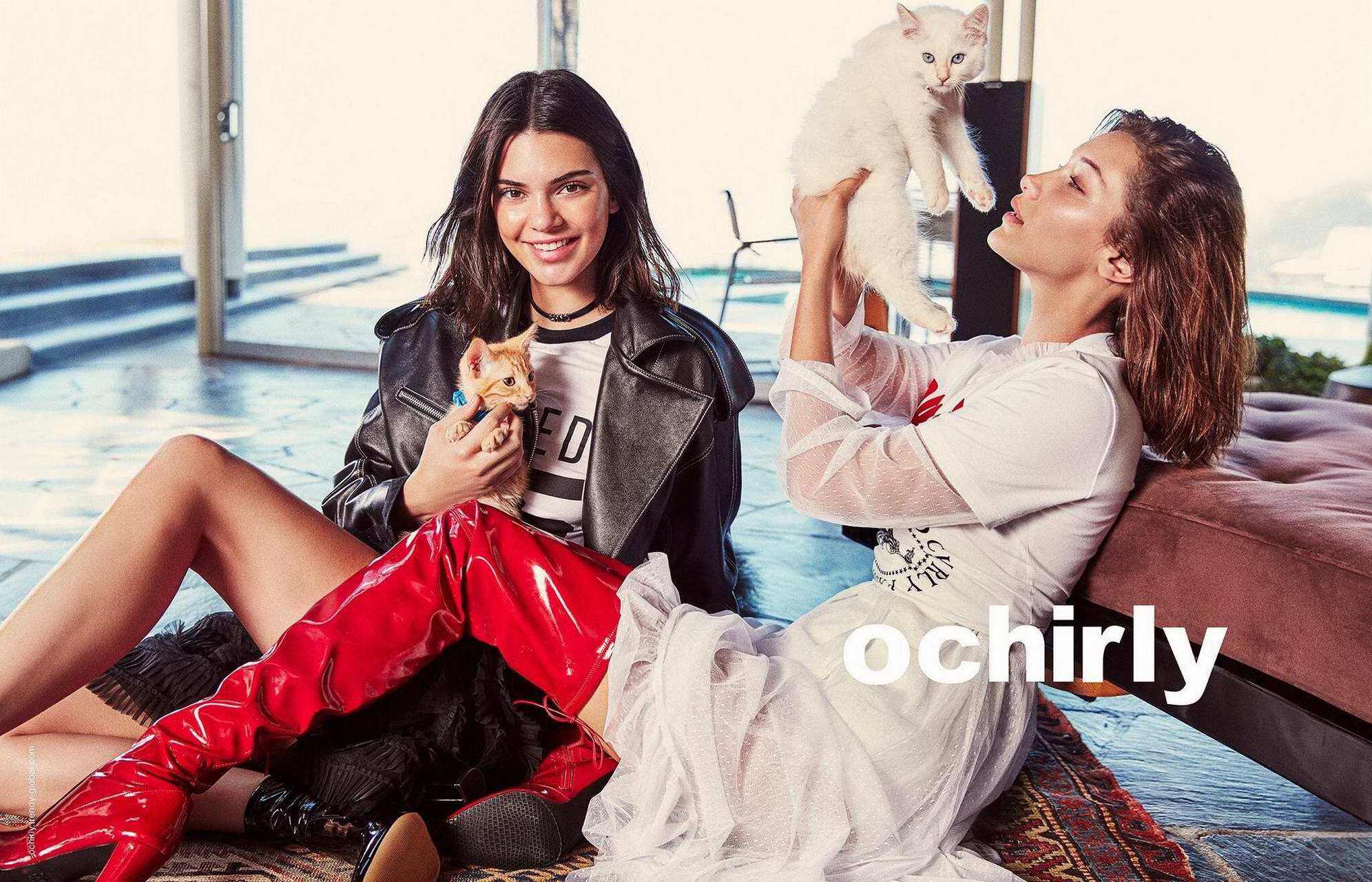 Bella Hadid and Kendall Jenner in Ochirly Campaign 2017