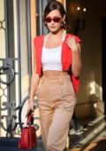 Bella Hadid leaves the Miu Miu fitting in Paris, France