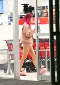Bella Thorne in Pink Slippers and Pink Shorts out Shopping with her Sister in Los Angeles