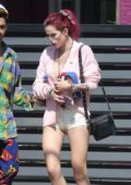 Bella Thorne in Shorts visiting a Studio with new boyfriend Max Ehrich in Hollywood