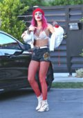 Bella Thorne rocks Red and White while out and about in Los Angeles