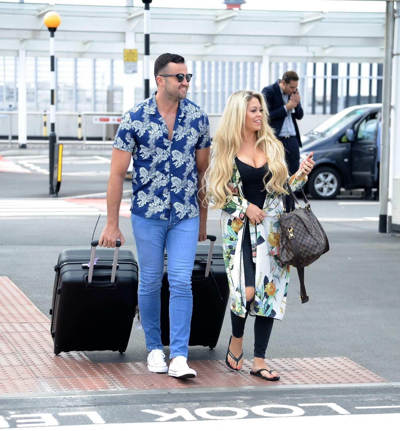 Bianca Gascoigne and boyfriend CJ Meeks arrives at the airport in London