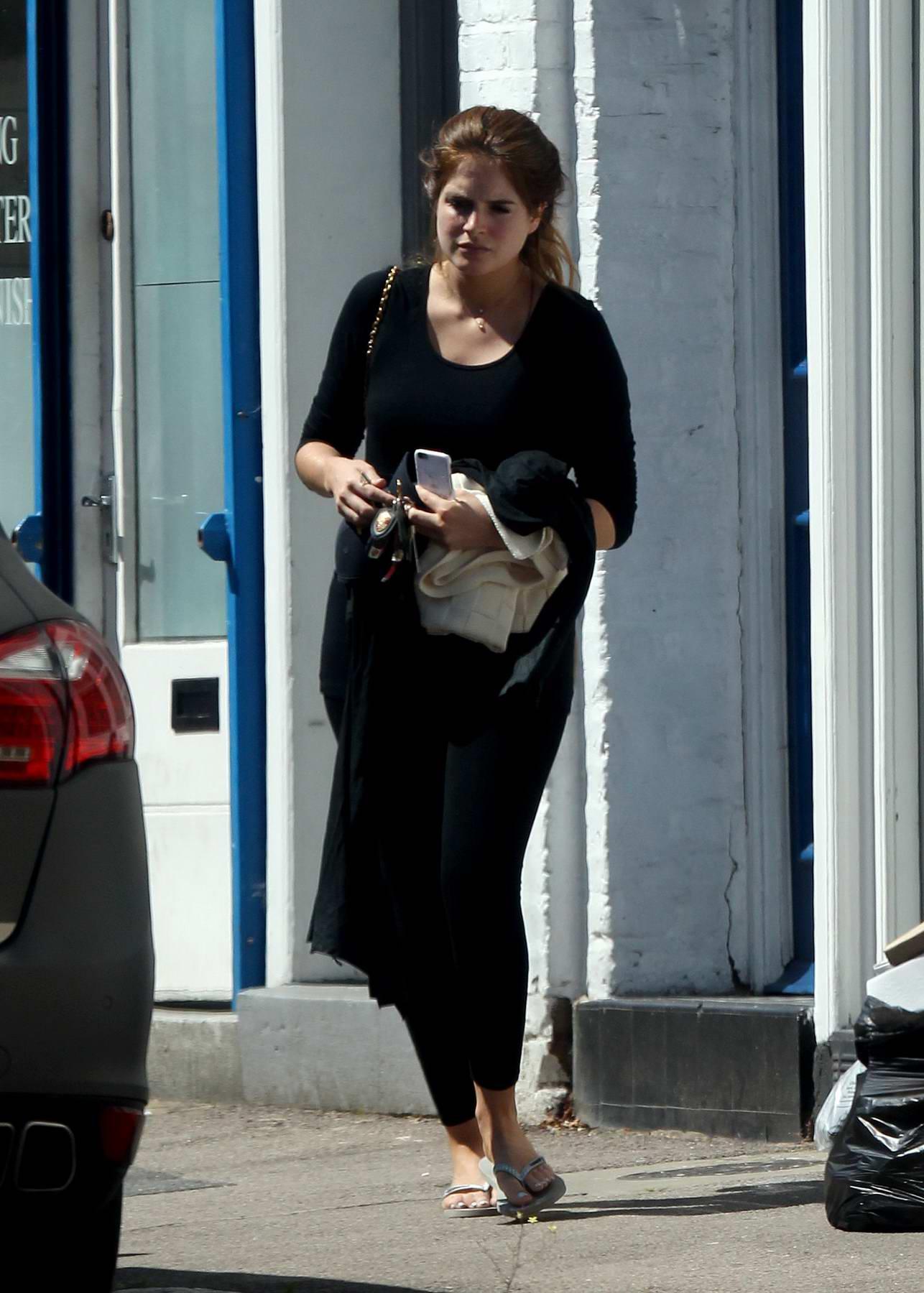 Binky Felstead leaving an Interior Designer's Office in London
