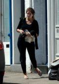 Binky Felstead leaving a Interior Designer's Office in London