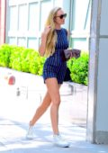 Candice Swanepoel in a Pinstriped Romper out in New York
