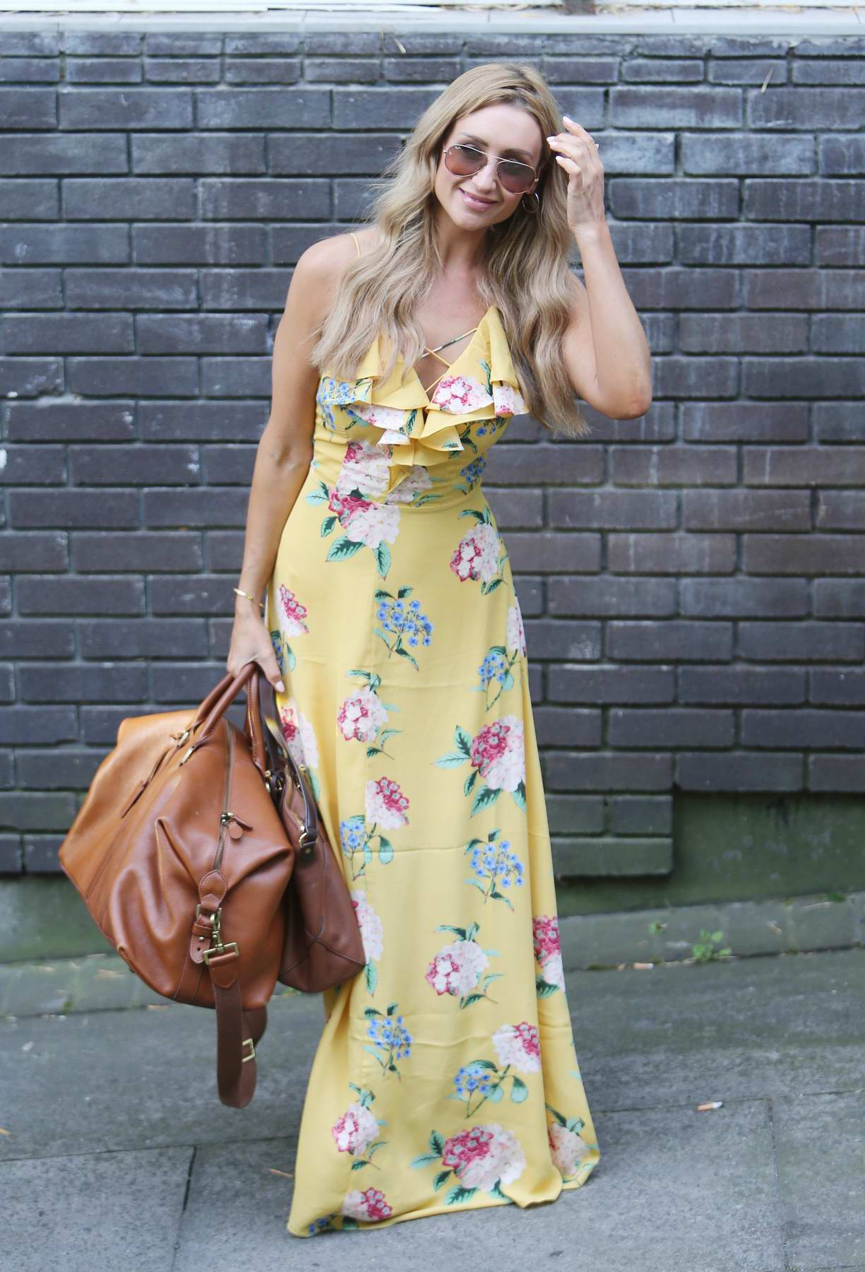 Catherine Tyldesley outside the ITV Studios in London