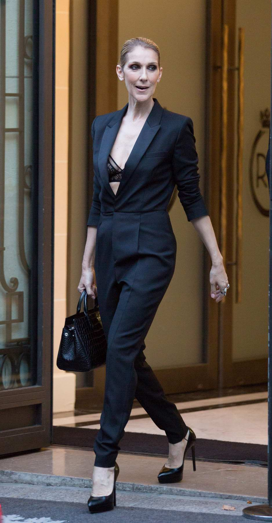 Celine Dion leaving Royal Monceau Hotel in Paris, France