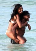 Chanel Iman in Bikini enjoying a beach day with her Boyfriend Sterling Shepard in Miami