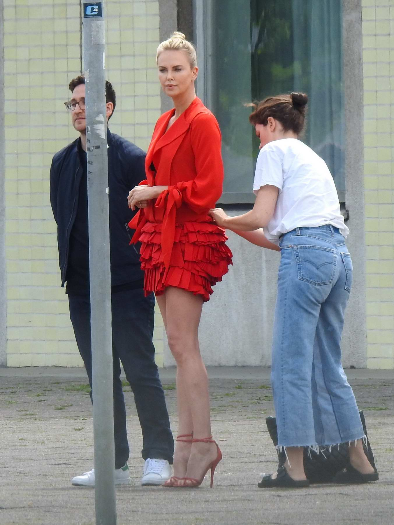 Charlize Theron spotted in Berlin Mitte for a Shoot in Berlin, Germany