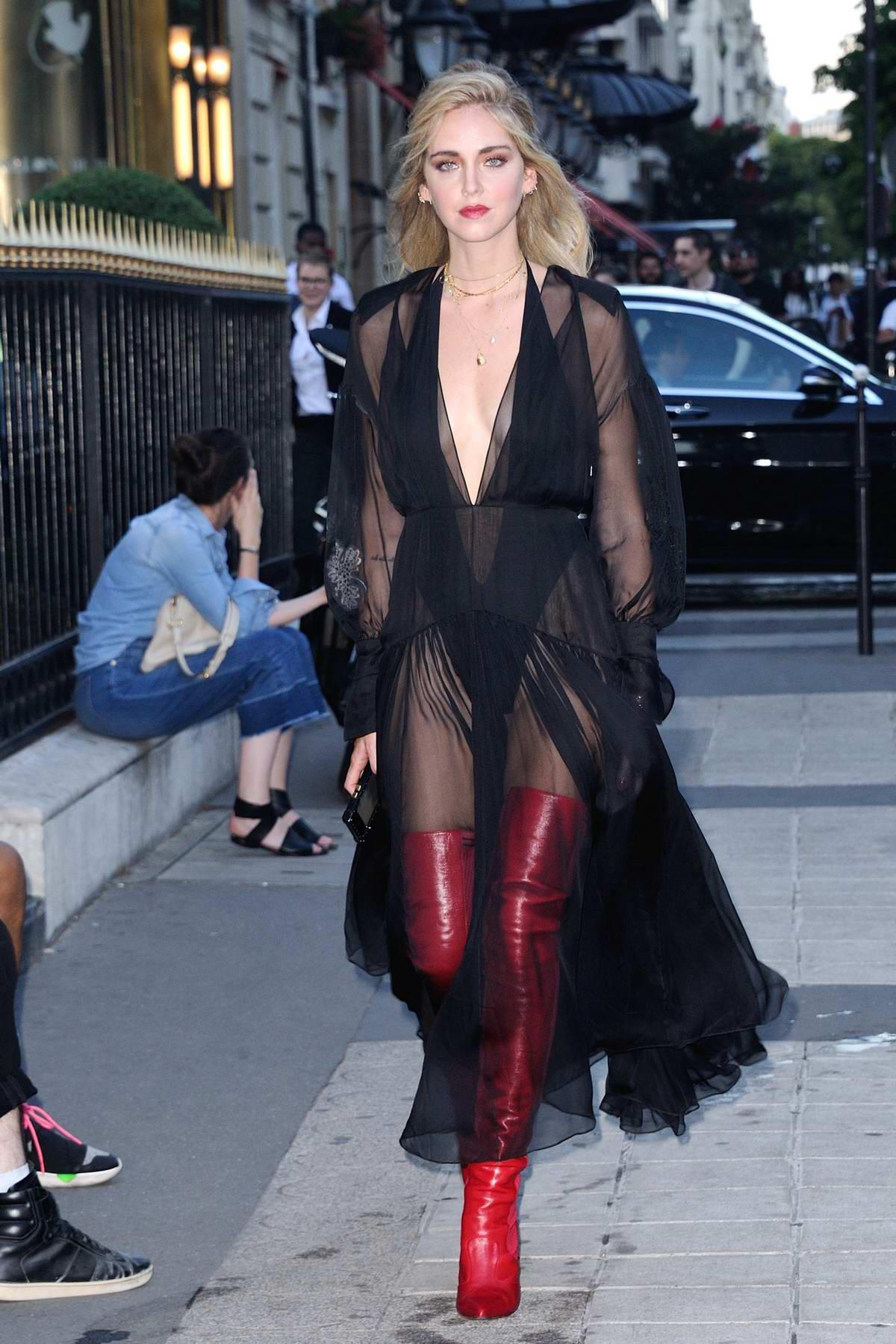 Chiara Ferragni leaving Fendi Fashion Show at Paris Fashion Week in Paris, France