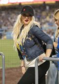 Christina Aguilera attends a Baseball Game at Dodgers Stadium in Los Angeles