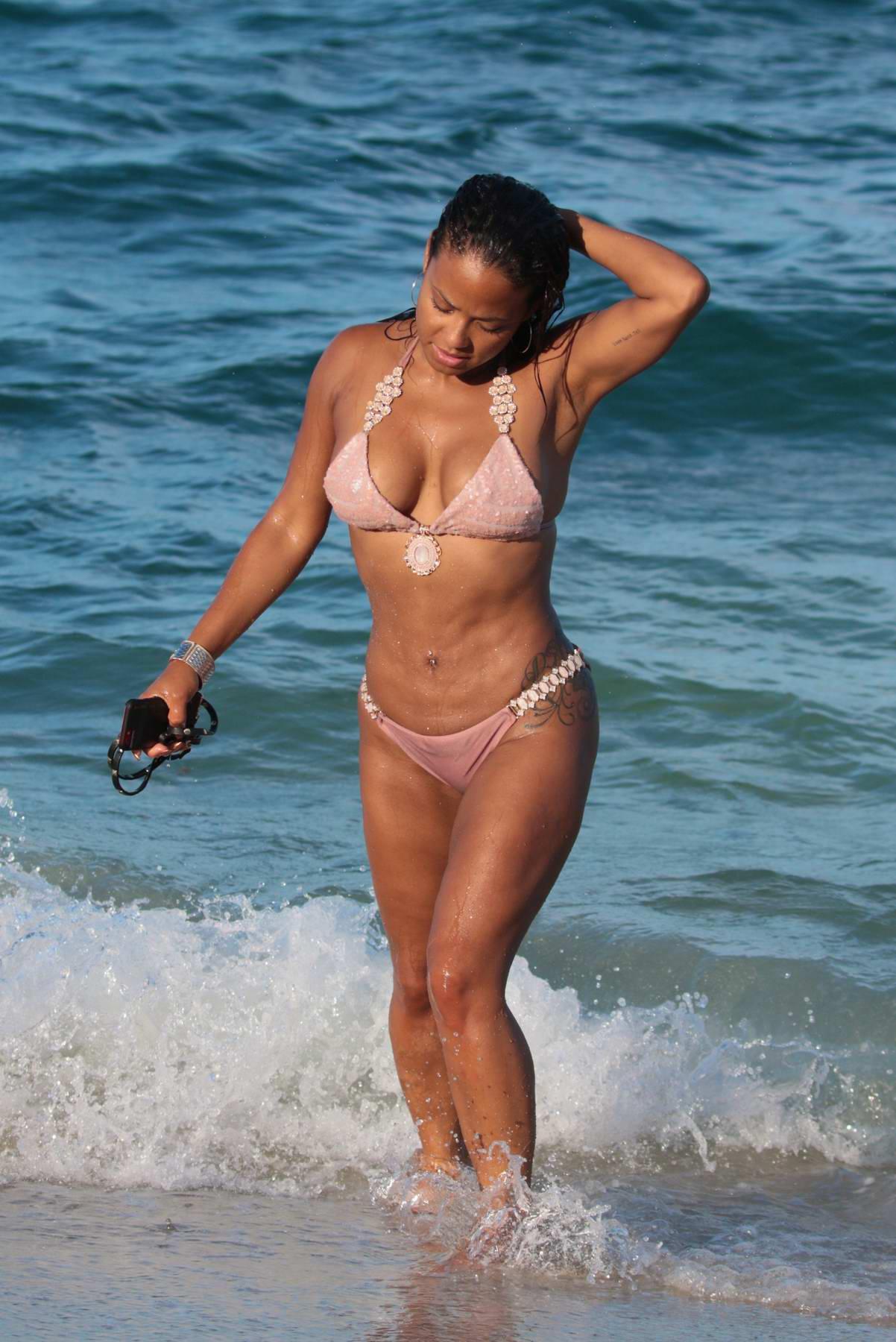Christina Milian hits the Beach in a Bikini in Miami