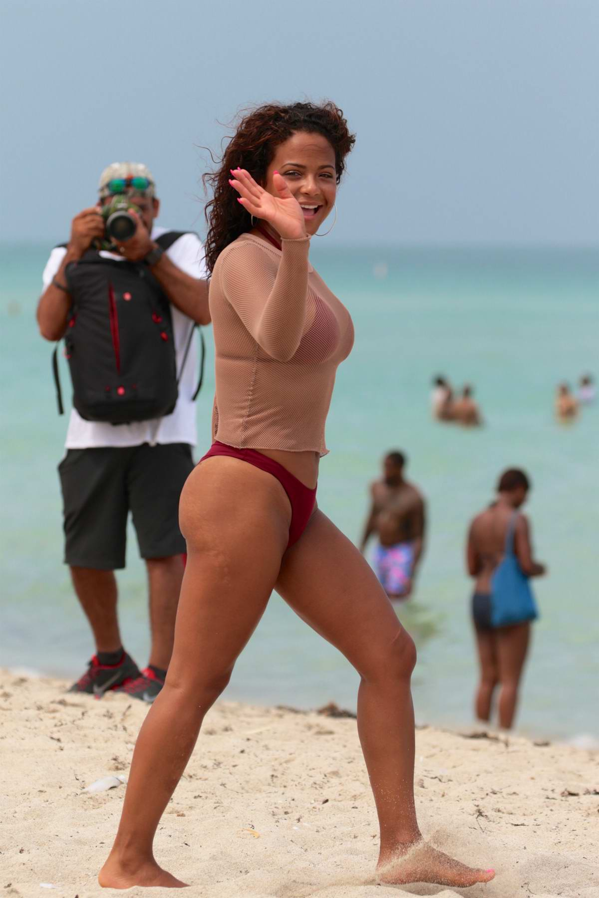 Christina Milian in a Burgundy Bikini on the Beach in Miami