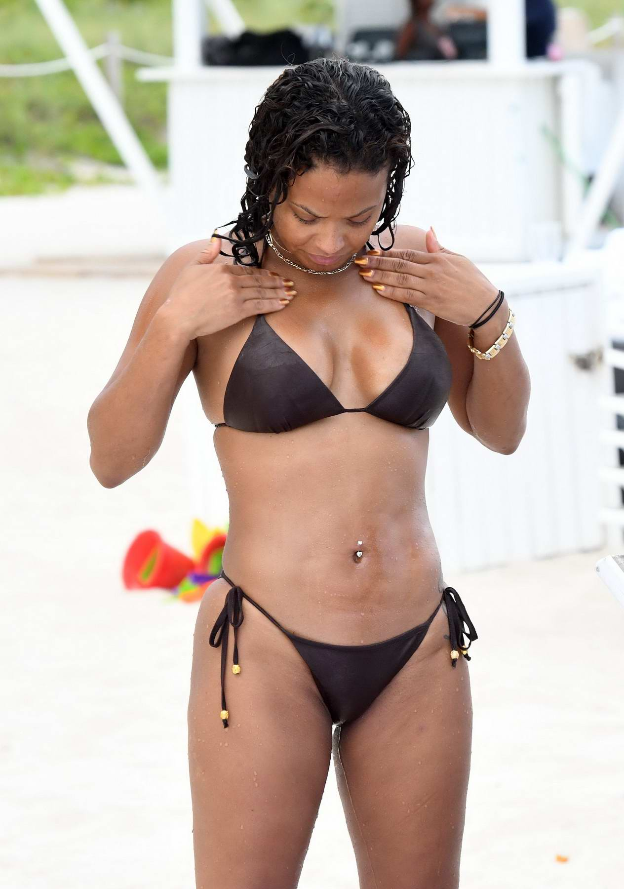 Christina Milian in Bikini spending the day at the Beach in Miami