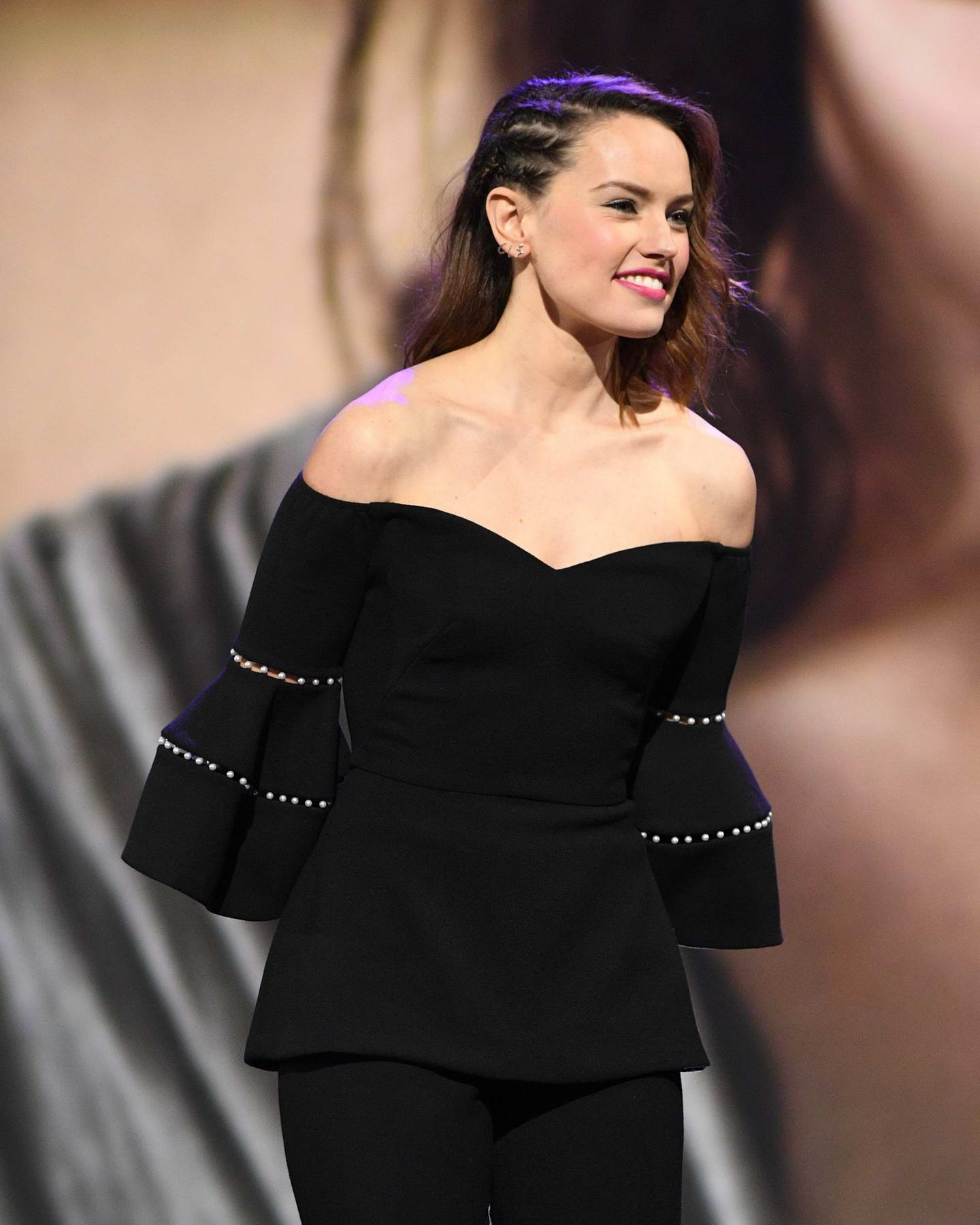 Daisy Ridley at Star Wars: The Last Jedi Presentation at Disney's D23 EXPO 2017 in Anaheim, California