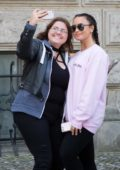 Demi Lovato leaving her Hotel and hops on a Red Ferrari in Berlin, Germany