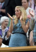 Ellie Goulding in the Royal Box of Centre Court to watch Novak Djokovic play in the Wimbledon 2017 in London