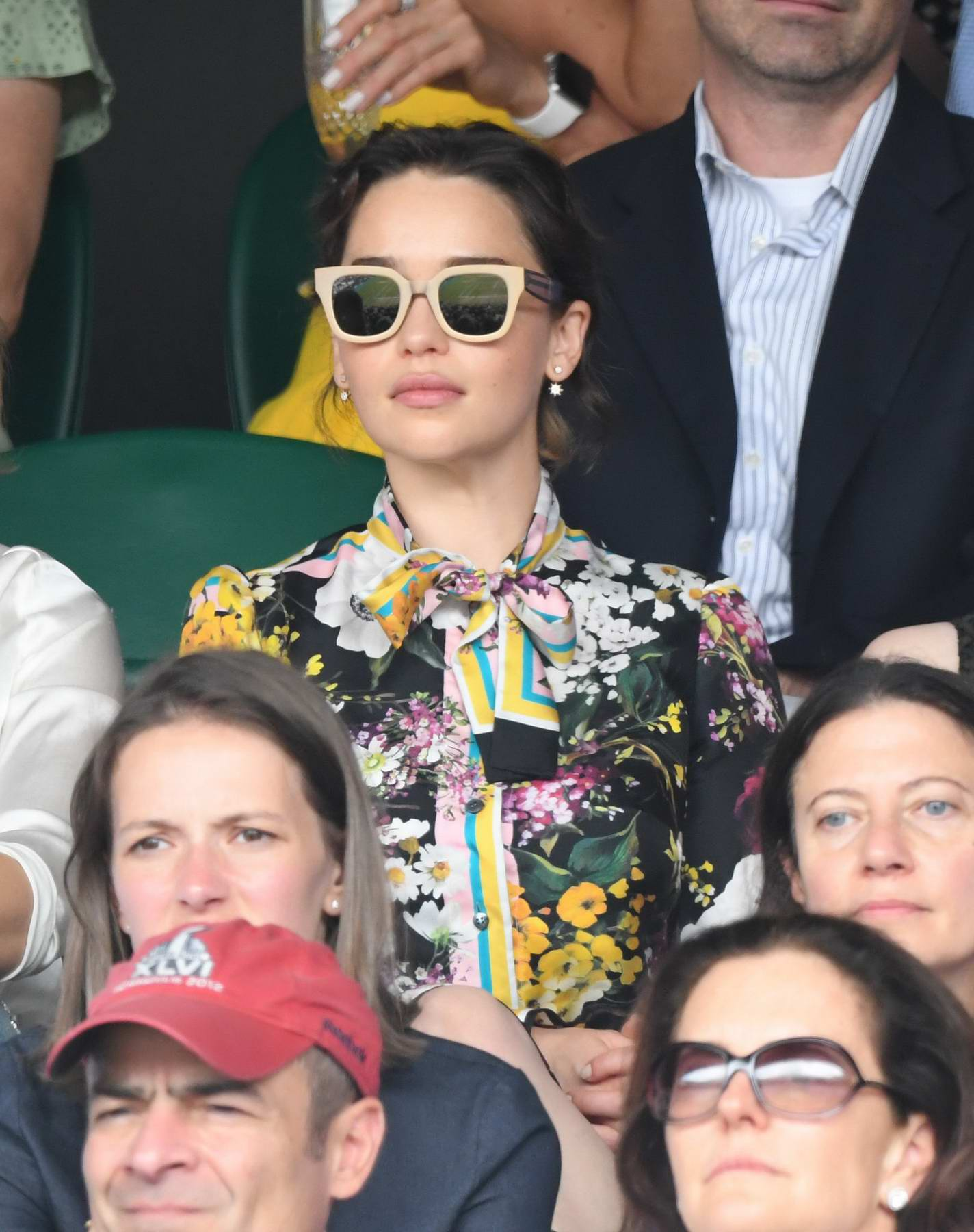 Emilia Clarke attends the Men's Singles Final on Day 13 of the Wimbledon 2017 in London