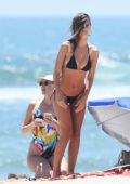 Emily Ratajkowski in a Black Bikini at the Beach in Malibu