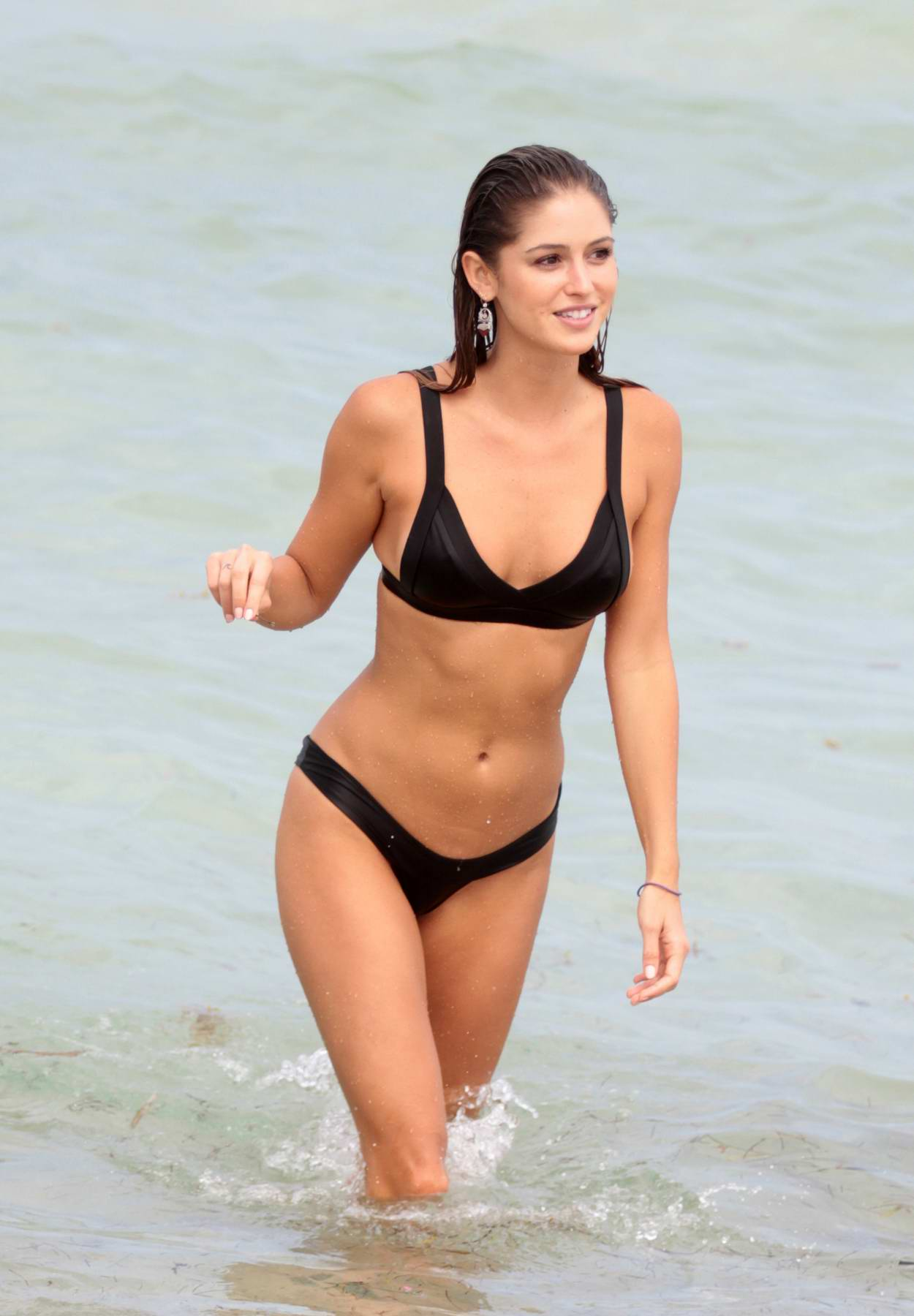 Gigi Paris in a Black Bikini enjoys the Beach in Miami