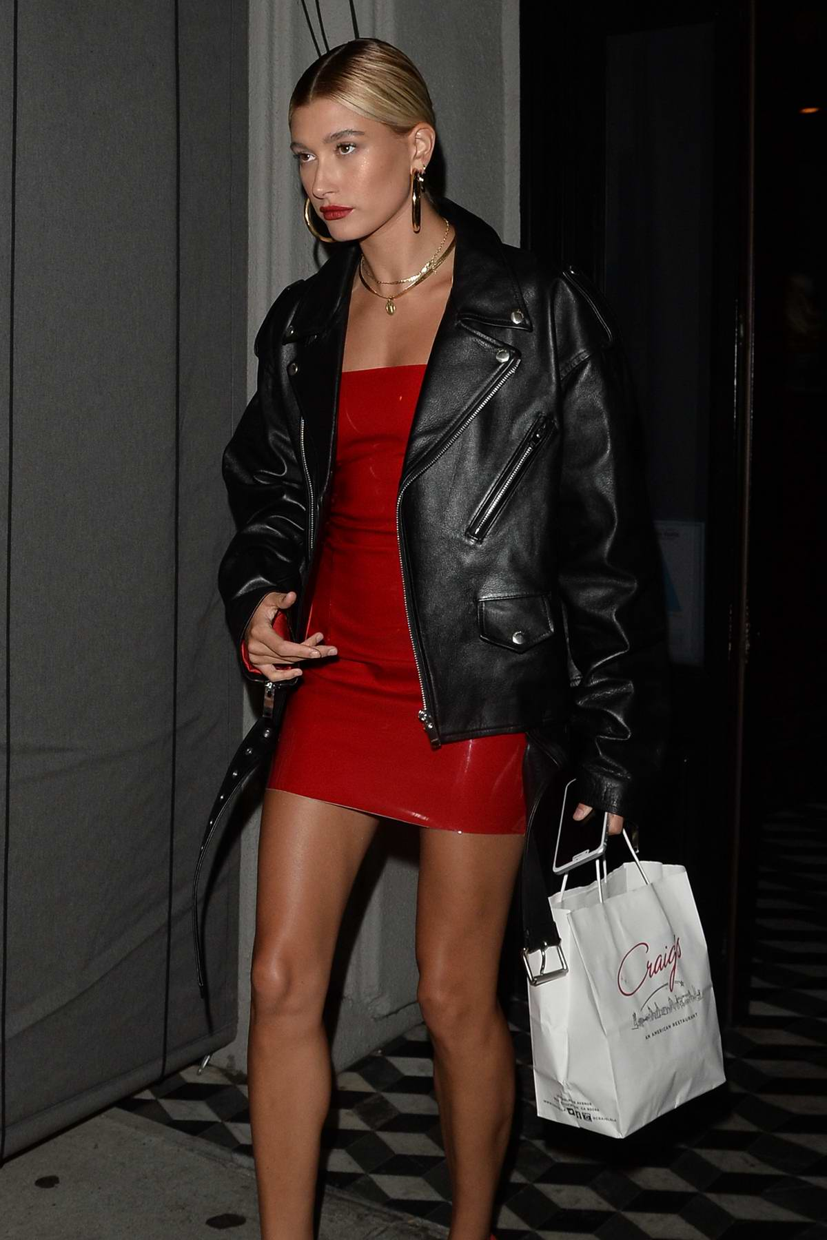 Hailey Baldwin leaving after a late night Dinner at Craigs in West Hollywood
