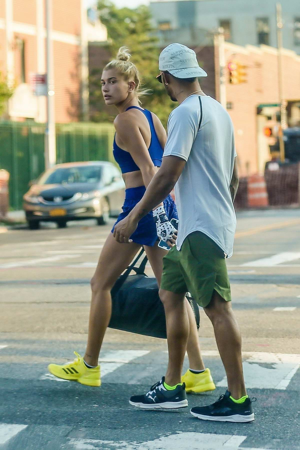 Hailey Baldwin spotted leaving the Gym with Lewis Hamilton in New York