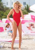 Hailey Clauson spotted in a Red Swimsuit at the Beach in Miami