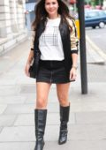 Imogen Thomas arriving for Drinks at the JuJu Wine Bar on the King's Road, Chelsea, London