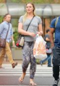 Iskra Lawrence Out and About with a Friend after Lunch at Junior's Restaurant and Bakery in New York