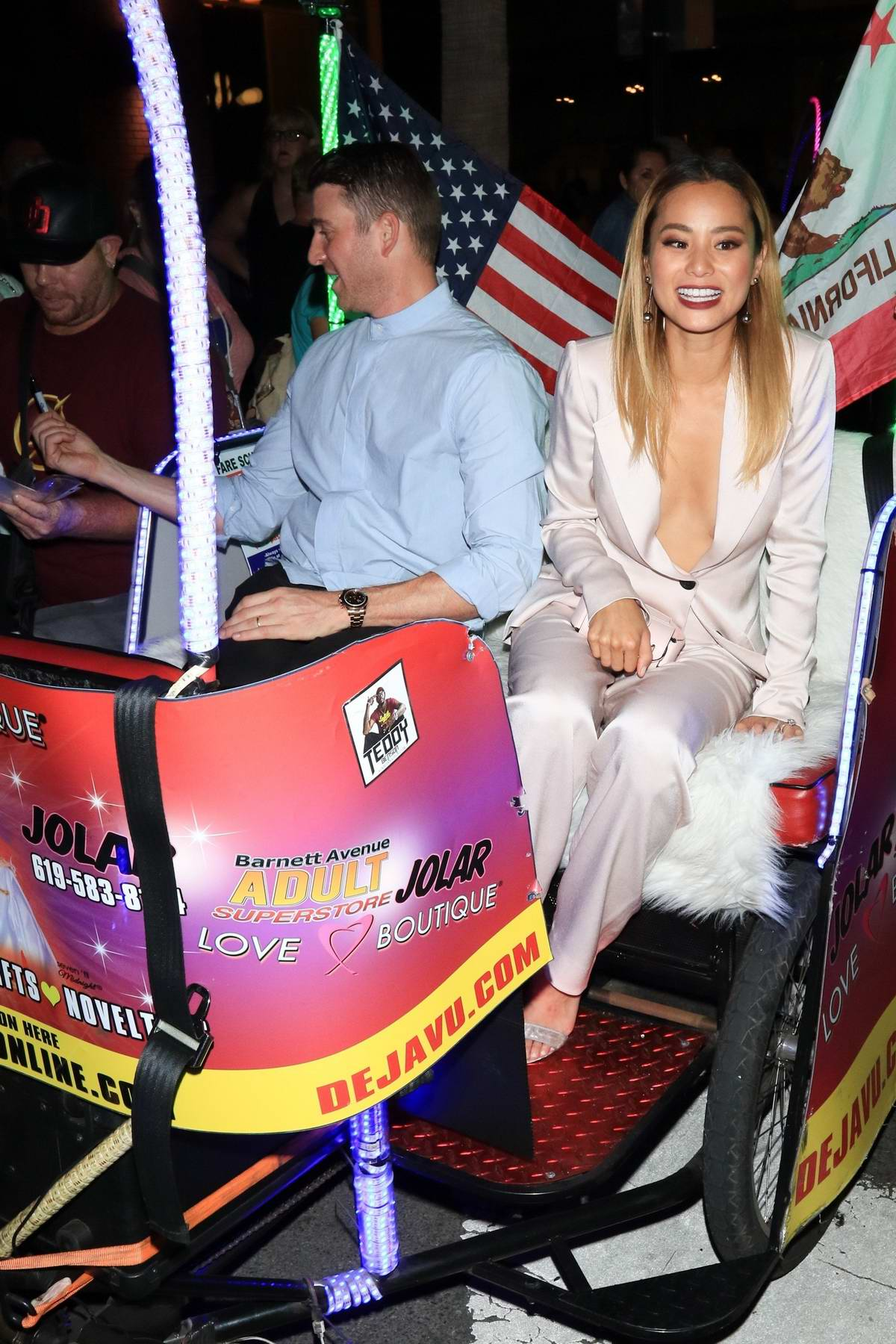 Jamie Chung and husband Bryan Greenberg are spotted on a bike cart at Comic Con International 2017 in San Diego